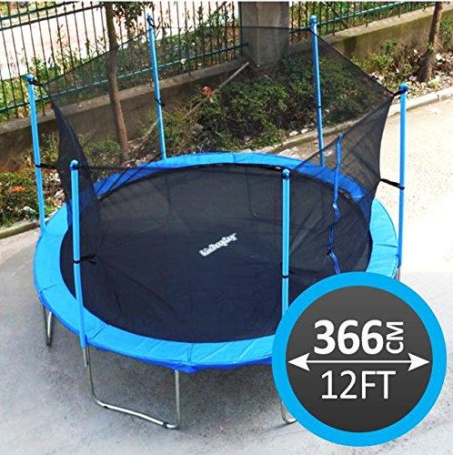Kinderplay 4 Trampolin mit TÜV und GS Zertifikat Blau mit Sicherheitsnetz, Leiter und REGENABDECKUNG BIS 150 KG! Modell 2014 (366 cm)