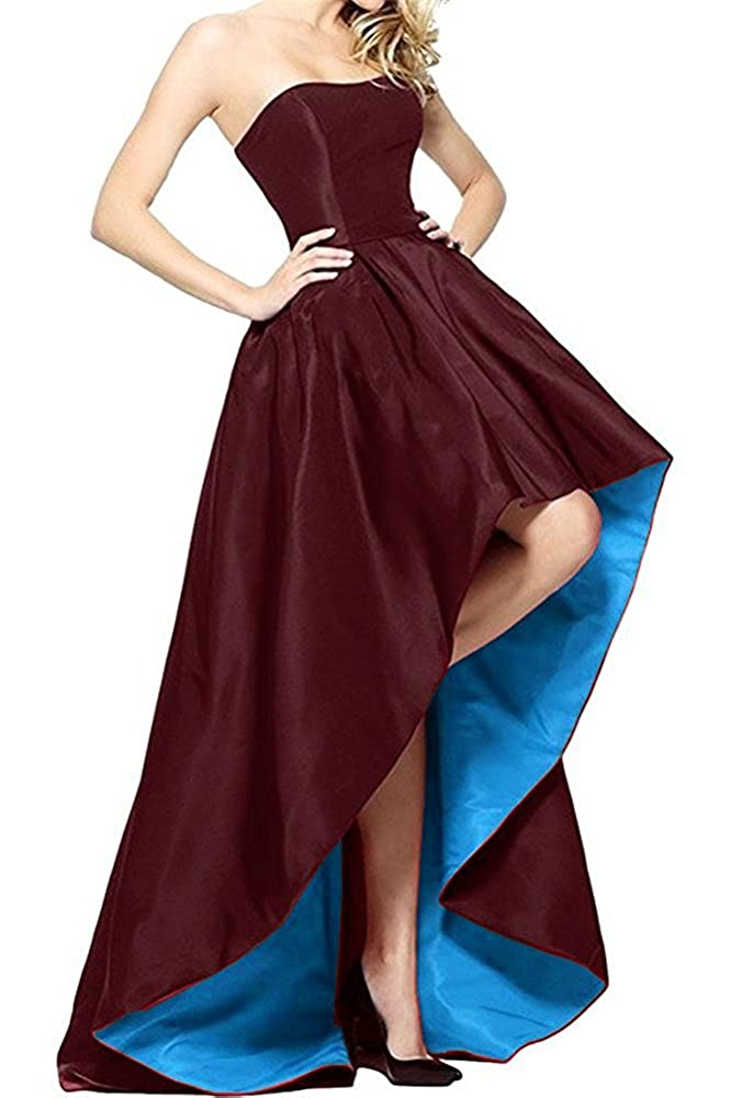 Burgundy and bluee Tutu Vivi Womens Strapless Prom Ball Gowns Satin Formal Evening Party Dresses High
