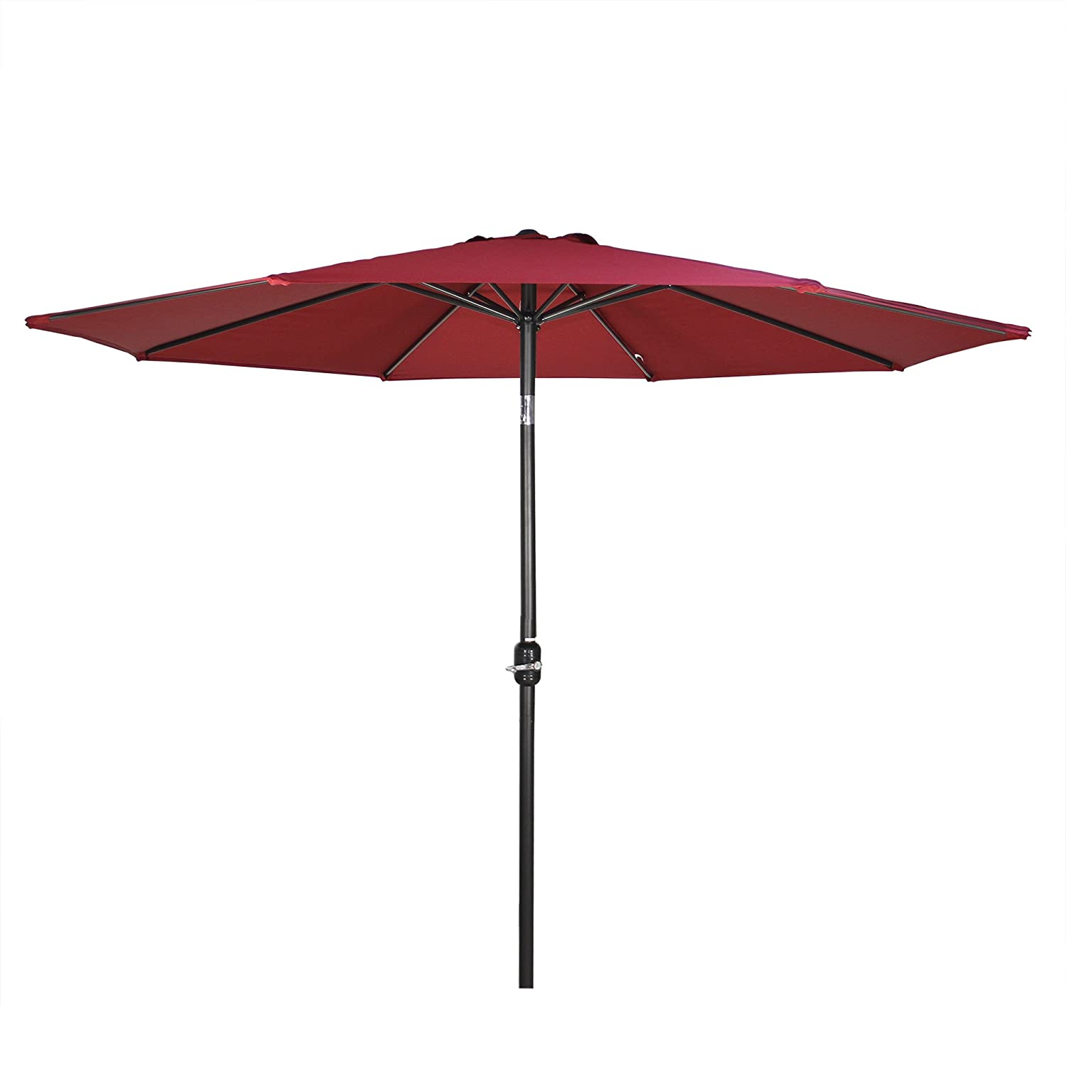 G-House 9 Ft Garden Patio Umbrella Outdoor Table Umbrella with Push Button Tilt and Crank, Sturdy Steel, 8 Ribs Wine Red