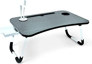Laptop Desk for Bed, Portable Foldable Laptop Tray Table with USB Charge Port and Foldable Legs, Bed Table Used for/Couch/Sofa Working and Reading