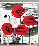 master bathroom pictures Ambesonne Floral Shower Curtain Classic Decor by, Flowers Chic Floral Picture Art Design, Polyester Fabric Shower Curtain, Black and White Red