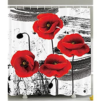 Amazon.com: Ambesonne Floral Shower Curtain Classic Decor by ...