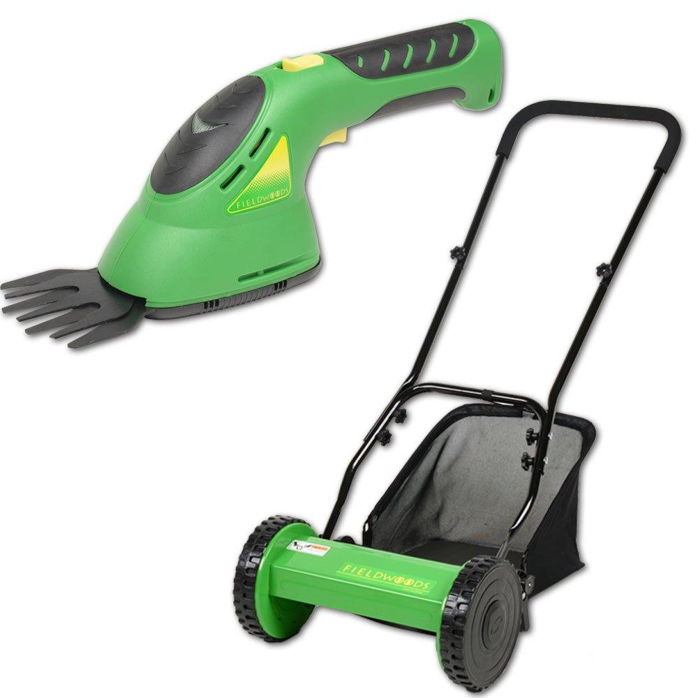 FIELDWOODS(フィールドウッズ) 芝刈り機セット(手動式芝刈り機FW-M30A&コードレス(充電式)芝生用バリカンFW-BB8A) B01LX6ZBK1