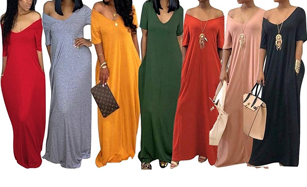 LROSEY Women Casual Long Dress Off Shoulder V Neck Short Sleeve Loose Fits Solid Maxi Dress with Pockets Plus Size