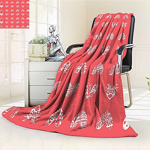 YOYI-HOME Throw Duplex Printed Blanket Coral Distressed Heart Shaped Coral Motifs Living Icons Married Wedding Love Signs Red Velvet Plush Throw Blanket /W59 x H86.5