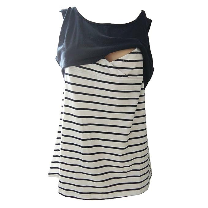 Meedot Embarazo Ropa de maternidad Camisetas de maternidad Camiseta Chaleco de lactancia Azul marino M