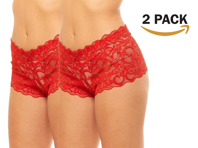 Black Fuchsia Women's Christmas Red Panties Semi-Sheer Lace Boyshort Plus Size