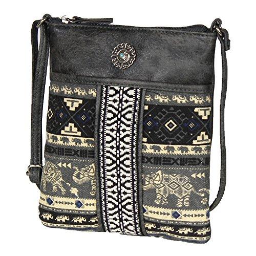 Grey Mini Boho Gypsy Crossbody Bag – Ethnic Vegan Leather Traveling Handbag (Leather Lined Mini Bag)