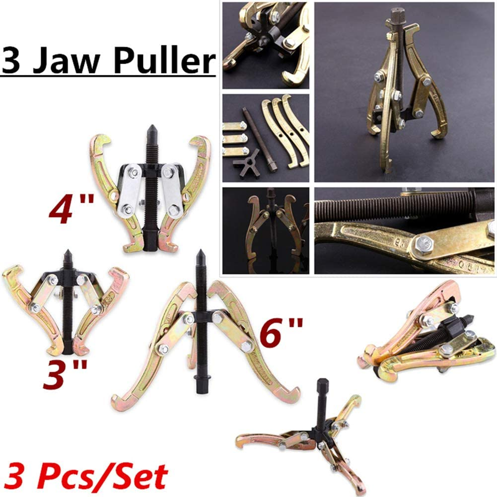 3 4 6 Heavy Duty Hub Bearing Puller Set Gear Pulleys Puller Remover Tool Kit for Slide Gears Ejoyous 3-Jaw Gear Puller Set Pulley and Flywheel