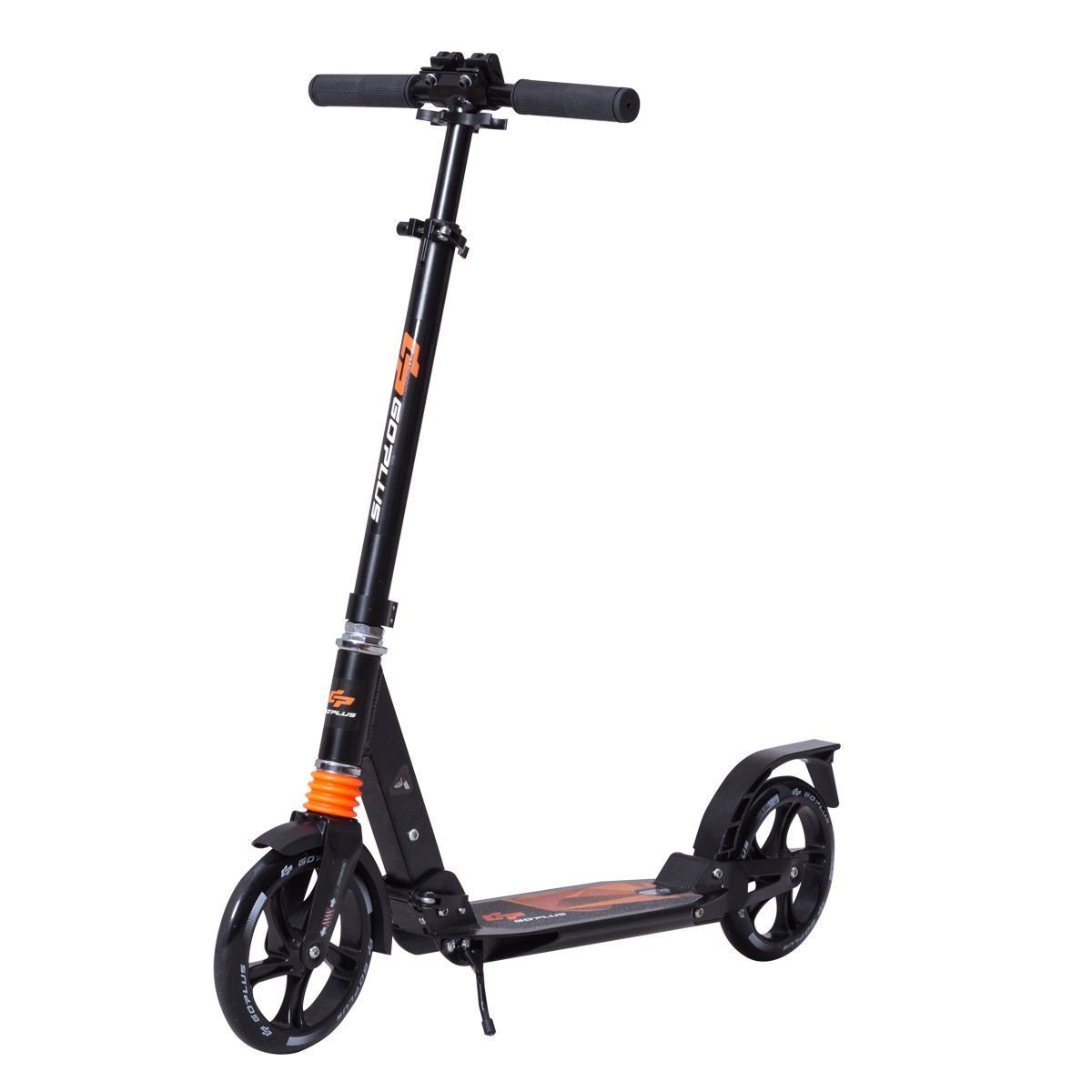 Goplus Folding Kick Scooter for Adult Teen Deluxe Aluminum 2 Big Wheels Glider Adjustable Height w/ Dual Suspension, 220lbs Capacity, Black by Goplus