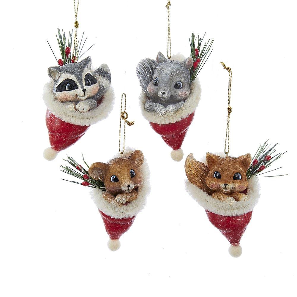 Kurt Adler 3.25-inch Vintage Animal in Santa Hat Ornaments, Set of 4
