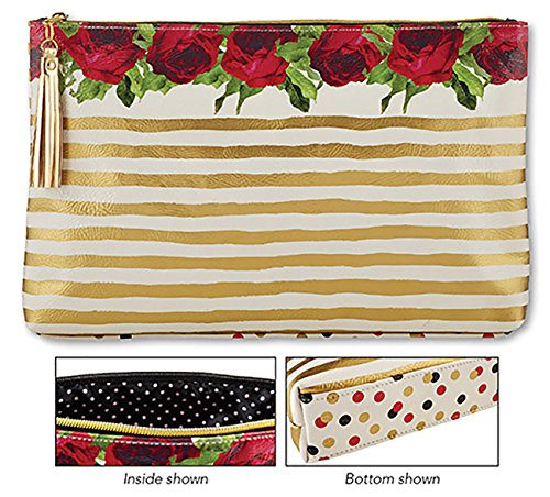 Gold Stripe Roses Oil Cloth Bag Large 17 x 10 x 2 Inches