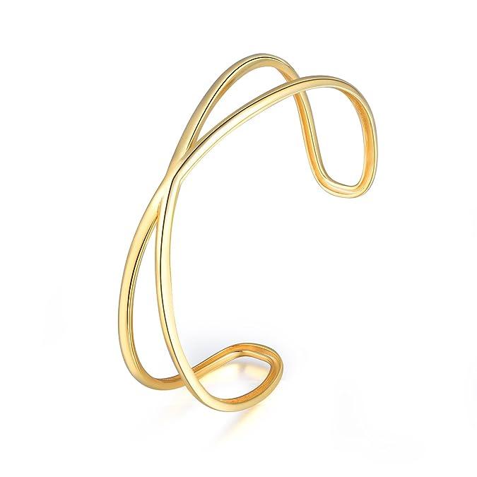 Sterling Silber Knoten öffnen Armreif Gold Weiß vergoldet Armband für Frauen   Amazon.de  Schmuck abae521ed4