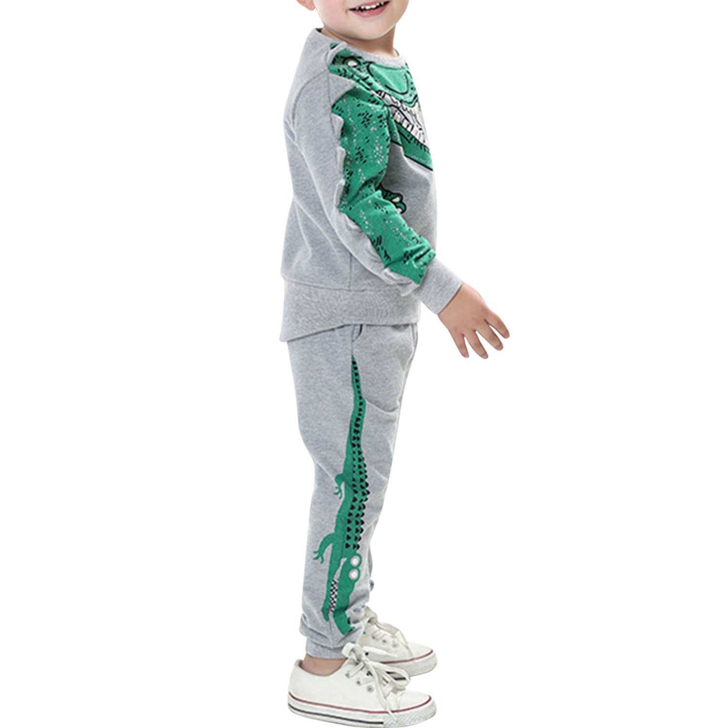 De feuilles Kids Boys Long Sleeve Dinosaur Sweatshirt T-Shirt Tops and Pans Trousers Clothes Set Outfit