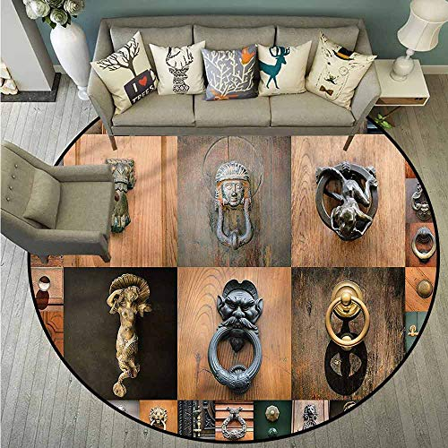 (Pet Rugs,Antique,Medieval Old Door Knobs,Rustic Home Decor,4'11