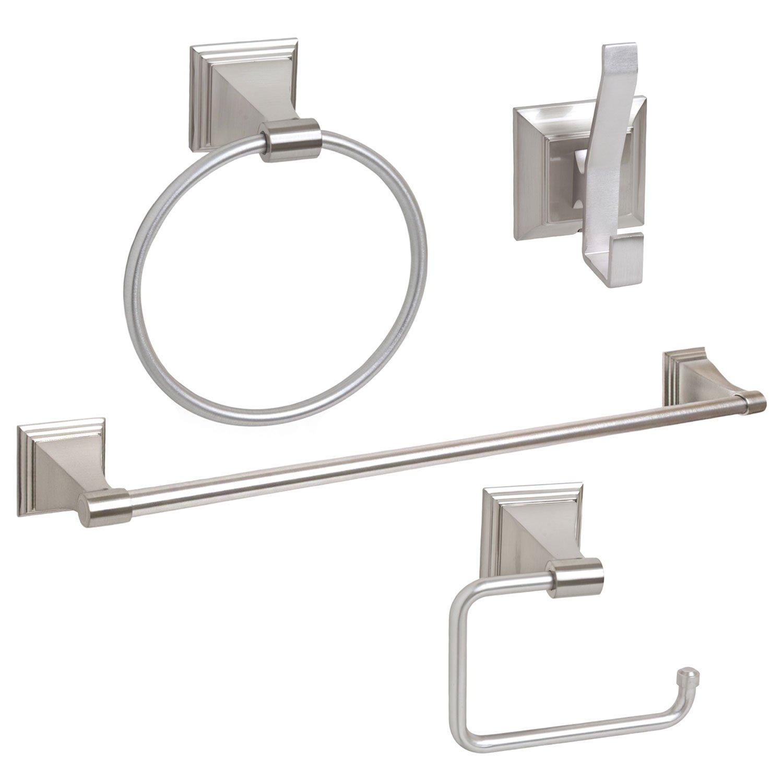 4-Piece Bathroom Hardware Accessory Set With 24'' Towel Bar - Satin / Brushed Nickel