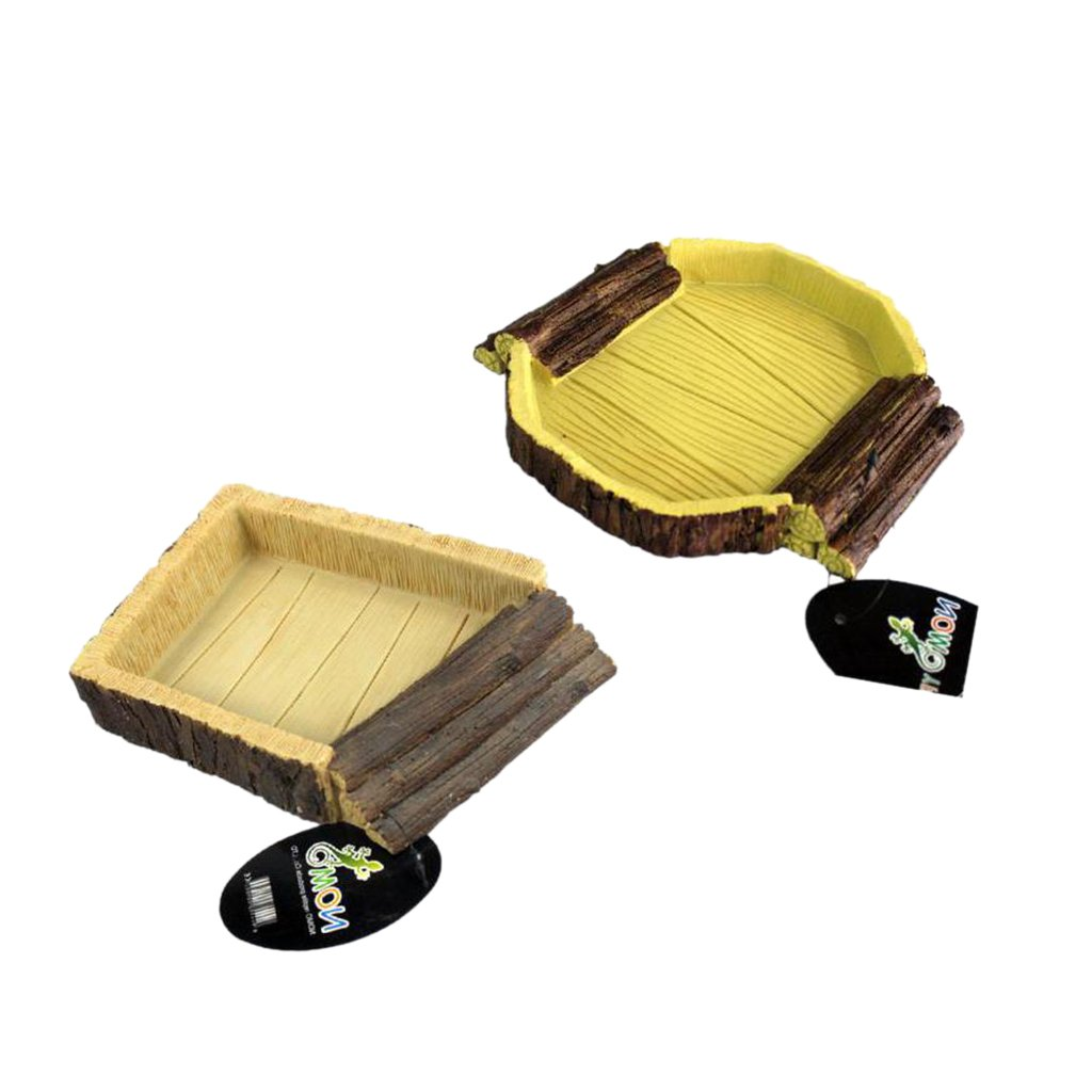 MagiDeal 2Pcs Resin Reptile Feeding Bowl Vivarium Food Water Worm Mealworm Dish Tray Pet Tortoise Gecko Snakes by MagiDeal (Image #4)