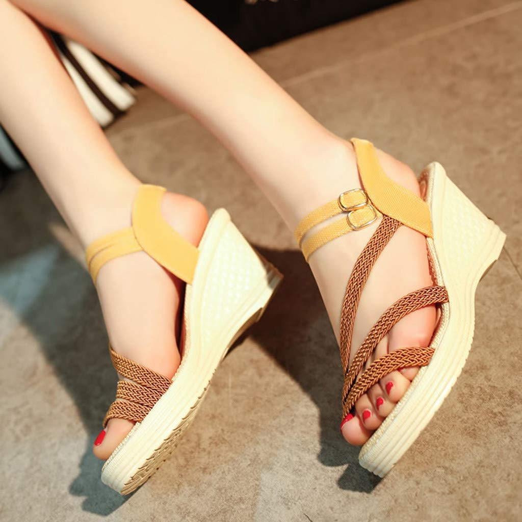 Huazi2 Women's Fashion Casual Roma Solid Buckle Platform High Heel Shoes Wedges Sandals by Huazi2 (Image #4)