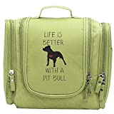 Travel Toiletry Bags Pit Bull Quotes Washable Bathroom Storage Hanging Cosmetic/Grooming Bag For Household Business Vacation, Multi Compartments, Waterproof Lining