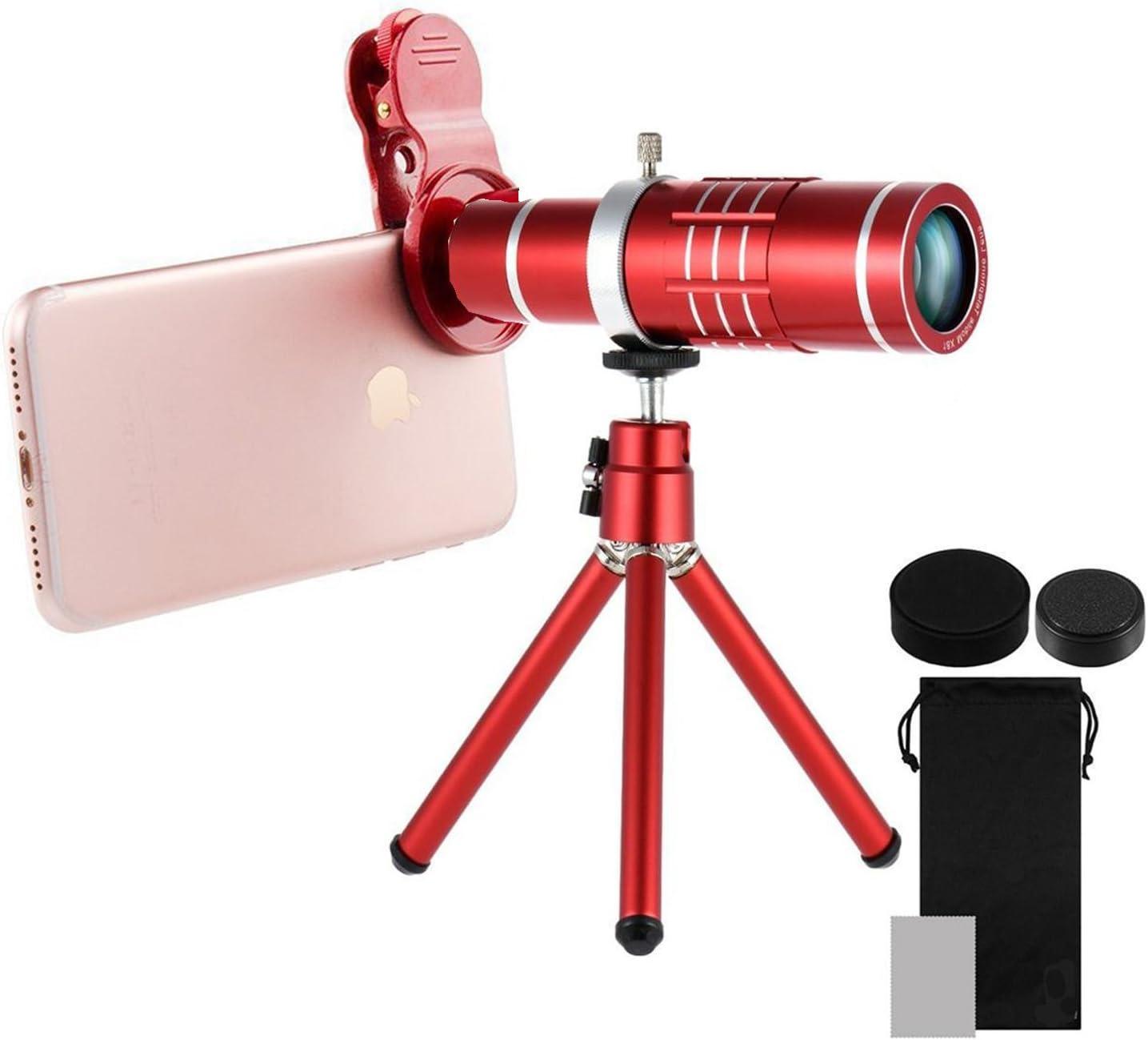 Telefon Kamera Objektiv Suaver Universal 18x Teleobjektiv Monokular Optisches Teleskop Objektiv Externes Handy Linse Mit Stativ Und Universalclip Für Iphone Samsung Galaxy Lg Htc Und Mehr Rot Beleuchtung