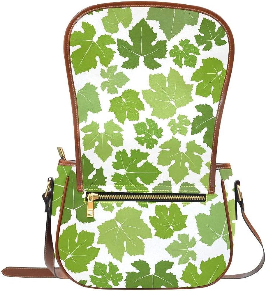 Green Grape Leaves Mosaic Shoulder Crossbody Bag Flap With Magnetic Snap Printed Woman Designer Bag Girls Saddle Bag