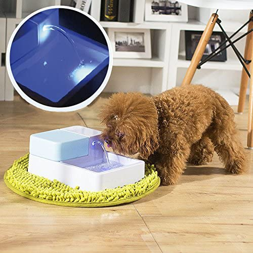 cjc 1.8L LED UV Module Automatic Pet Water Fountain with LED Light 12V Pet Waterer Safe Drinking Bowl for Dogs Cats