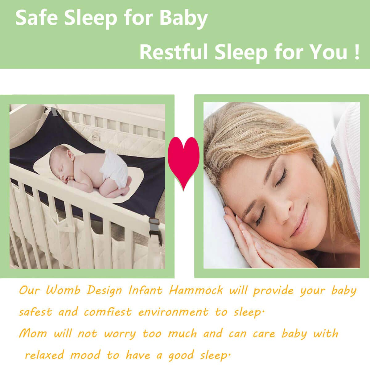 Baby Hammock for Crib Mimics Womb Provide The Perfect Transition to Crib for Newborn Infant Safe Sleep as Baby Shower Gift