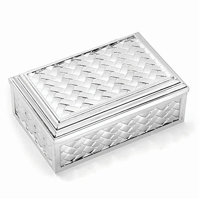 Amazon Com Silver Plated Hinged Lid Rectangle Jewelry Box Jewelry