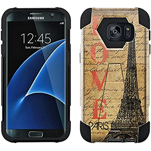 Samsung Galaxy S7 Edge Hybrid Case Paris Stamp 2 Piece Style Silicone Case Cover with Stand for Samsung Galaxy S7 Edge Sales