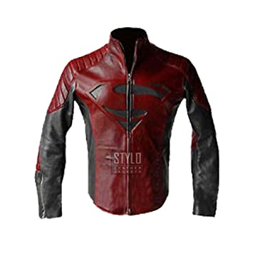 Amazon.com : New Superman Black and Red Leather Jacket ...