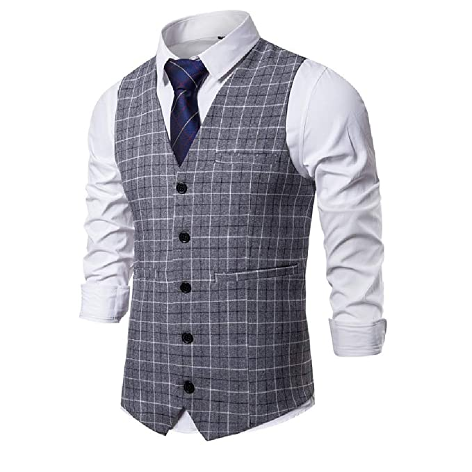 Tralounry Chaleco De Vestir Para Hombre Diseño De Cuadros
