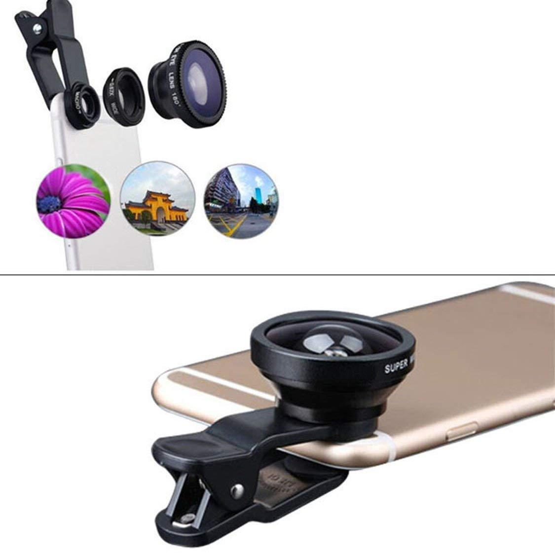 Obiettivo grandangolare Trasforma Il Telefono nella Fotocamera Professionale Obiettivo Macro ITFancysweety Lente per Telefono Multifunzionale 3 in 1 Fish Lens