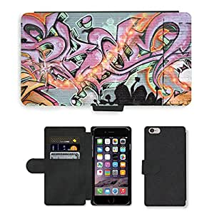 PU Cuir Flip Etui Portefeuille Coque Case Cover véritable Leather Housse Couvrir Couverture Fermeture Magnetique Silicone Support Carte Slots Protection Shell // V00002255 Graffiti spraypainted // Apple iPhone 6 PLUS 5.5""