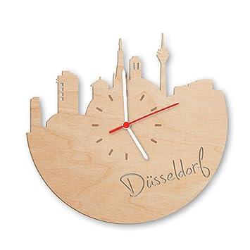 Skyline Düsseldorf Wanduhr Aus Birken Holz Made In Germany Design