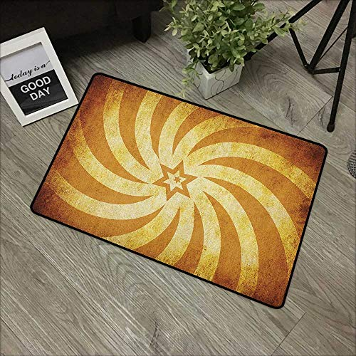 Buck Haggai Mats Soft on Kitty Paws Burnt Orange,Spiral Twisty Lines Look Like Sun Rays Around A Centered Star Stained Radiant, Tan Golden,for Kitchen Dining Living Hallway Bathroom - Spiral Cut Patriotic