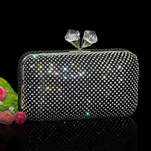 Da Pochette Sposa Wlq Borsa Nera Diamante Diamanti Sposa A Del Mano Di Xcf Abito Sacchetto Nero Imitazione Cena Piena Banchetto Z4640