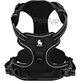 Petsup Dog Harness With 3M Reflective Dog Vest Front Range With Handle (Medium, Black)