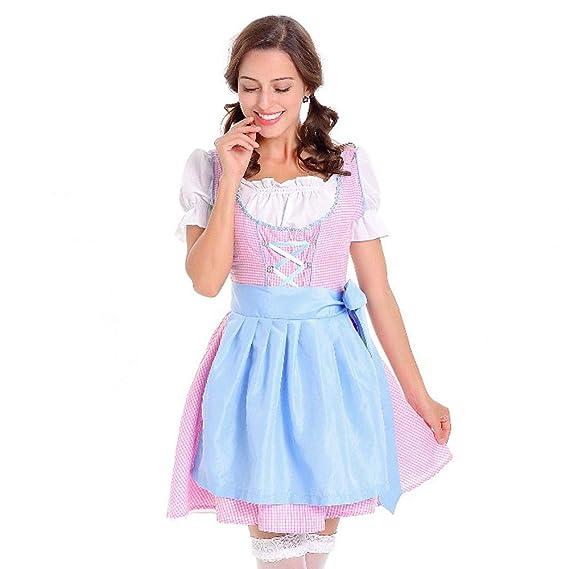 a0834536717dbe Karneval Damen Kostüm/Fasching/Halloween-Parties,Transwen 3 teiliges Dirndl  Kleid der Frauen Traditionelles Bayerisches Oktoberfest Kostüm Karneval: ...