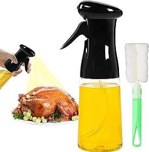 Oil Sprayer Mister Olive Oil Spritzer for Air Fryer Cooking Spray Bottle 210ml/7oz Kitchen Gadgets for BBQ Frying Salad Roasting (Black)