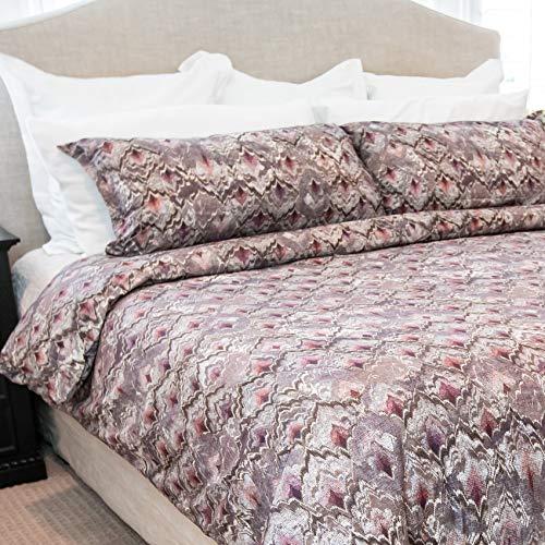 Vesper Lane SP01BUNKGDLF Duvet Cover Set, King, Merlot red