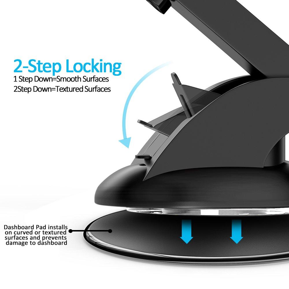 Bovon Soporte Móvil Coche, Soporte Movil Coche Universal para Parabrisas y Salpicadero con Ventosa de Gel Fuerte y Brazo Ajustable Giro para iPhone X XS MAX ...