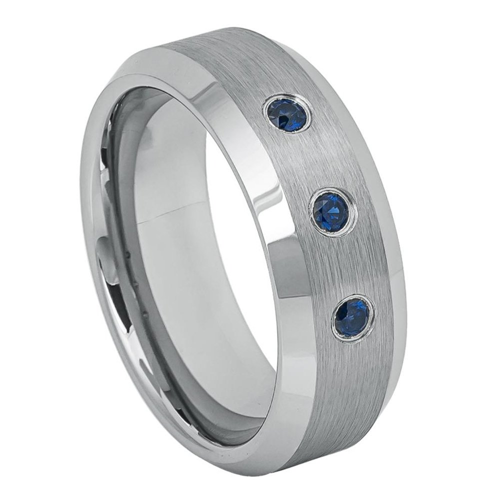 Mens 8mm Pipe Cut Stepped Edge Wedding Band Cross Accent over Brushed Center Comfort Fit Tungsten Carbide Anniversary Ring