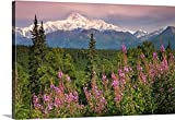Canvas On Demand Premium Thick-Wrap Canvas Wall Art Print entitled Southside view of Mt.McKinley with fireweed Southcentral Alaska along Parks Highway 48 x32