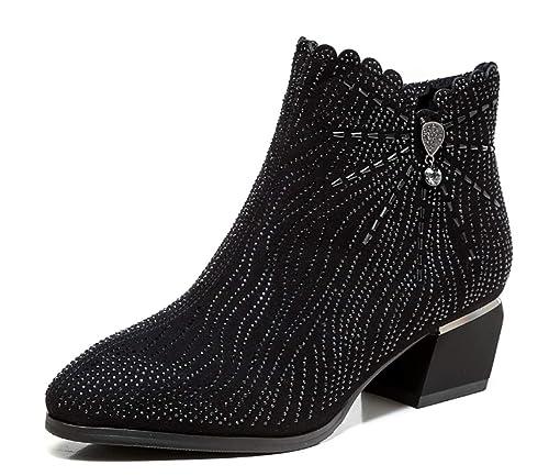 Shiney Botines para Mujer Moda De Invierno 2018 Tacón Grueso Tacones Altos Zapatos Individuales Botas Cortas: Amazon.es: Zapatos y complementos
