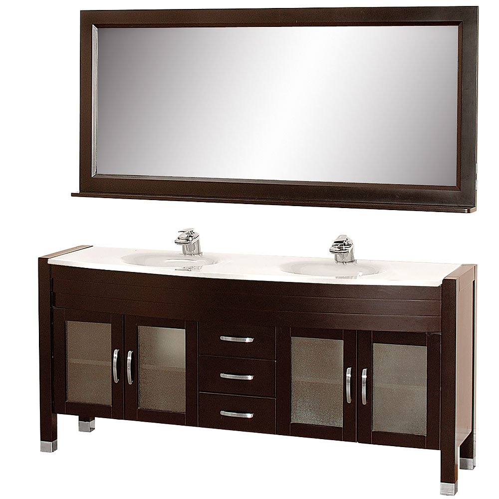 Wyndham Collection Daytona 71 inch Double Bathroom Vanity in Espresso with White Man-Made Stone Top with White Integral Sinks