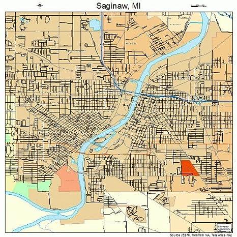 Amazon Com Large Street Road Map Of Saginaw Michigan Mi