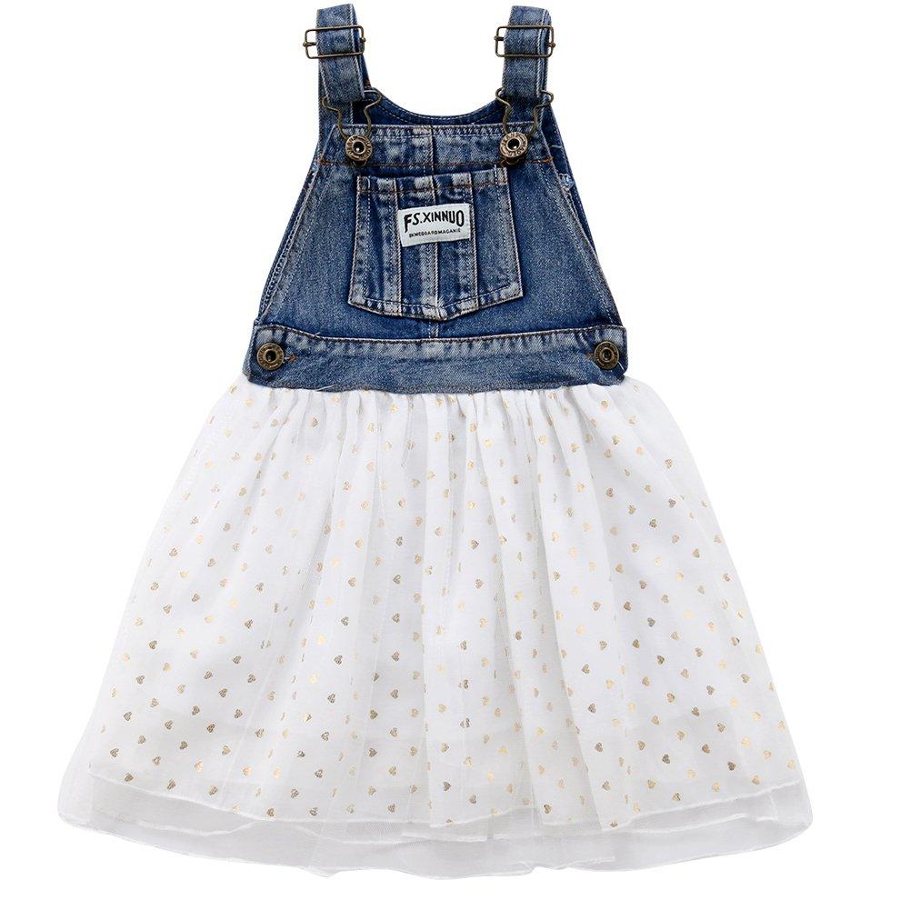 Baby Kid Girls Suspender Denim Polka Dot Tutu A-line Dress Cowgirls Outfits