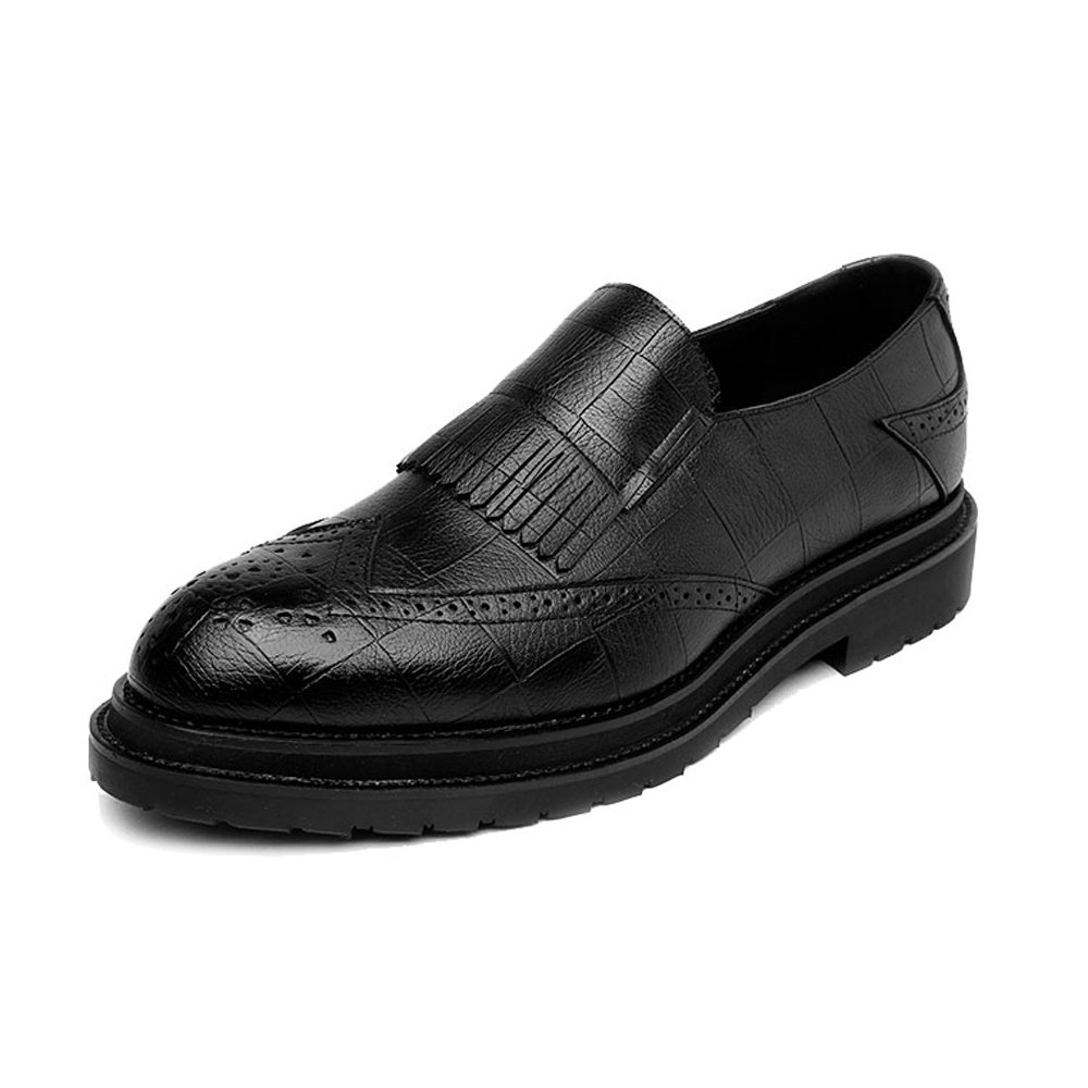 Black JUJIANFU-shoes Simple Men's PU Leather shoes Classic Slip-on Tassel Decoration Breathable Formal Business Lined Outsole Oxfords