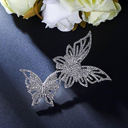 POLPEP Qin hailu Autumn Dual Women Girls Butterfly Brooch Lapel pin Badge Crystal Coat Shawl Scarves Buckle Jewelry (White Diamond
