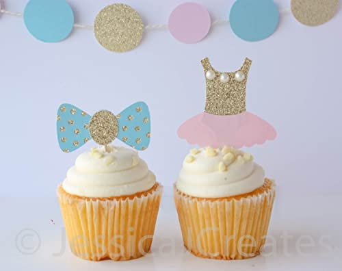 12 Pink /& Blue Glitter Heart Cupcake ToppersBaby Shower /& Gender Reveal Party